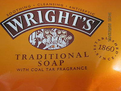 4 x Wright's Traditional Soap with Coal Tar 125g  FREE P & P
