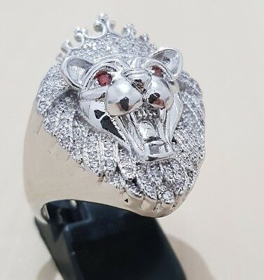 14k White Gold Plated ICED OUT AAA Cubic Zirconia Rings MENS lion head
