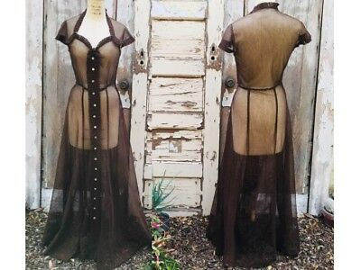 Vintage 1930s Chocolate Brown Mesh Gown / 30s Dress / Hollywood Glam / XS Small