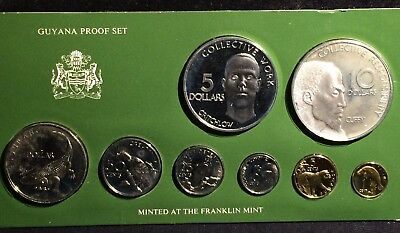 (8pc) 1977 GUYANA PROOF SET WITH FRANKLIN MINT SILVER - ONLY COA - NO BOX