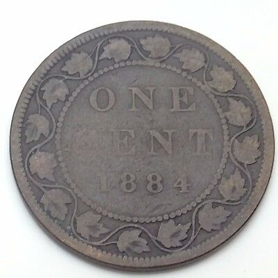 1884 Canada Copper One Cent Penny Circulated Canadian Coin C775