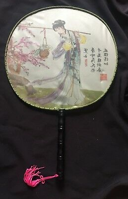 Chinese traditional style fan hand fan pretty cherry blossoms girl summer NR