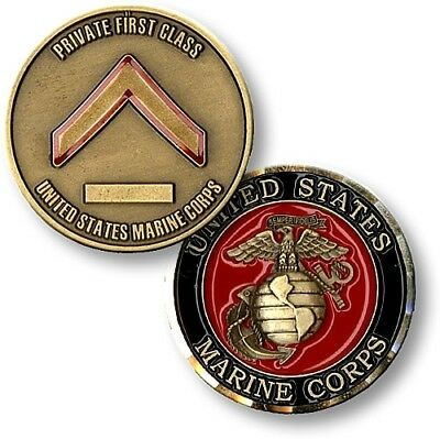 """USMC Marine Corps Challenge Coin Rank E-2 Private First Class 1.5"""" Brass Enamel"""