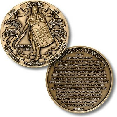 Firefighter Fire Rescue Challenge Coin Fireman's Prayer and Armor of God Eph 6