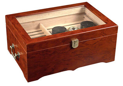 DELUXE CIGAR HUMIDOR 150 ct GLASS TOP -NO RESERVE - NEW