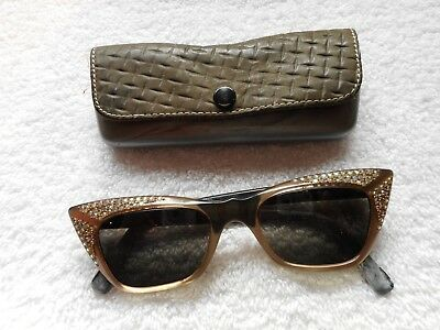 79f31823562 Vintage Kaybert Emotique 40-20 Cat Eyes Sun Glasses Jeweled Beautiful!