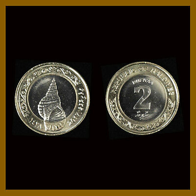 Maldives 2 Rufiyaa, 2017 Bi Metalic Coin Sea Shell BU Unc