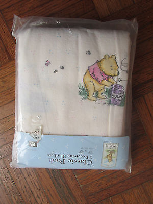 "Classic Winnie The Pooh ""pooh His Hunny Pot"" Receiving Blankets Set 2 Rare New"
