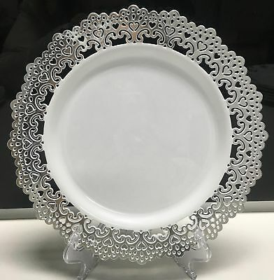 Elegant Disposable Plastic Plates Party White Wedding Silver Clear hammered clea & ELEGANT DISPOSABLE PLASTIC Plates Party White Wedding Silver Clear ...