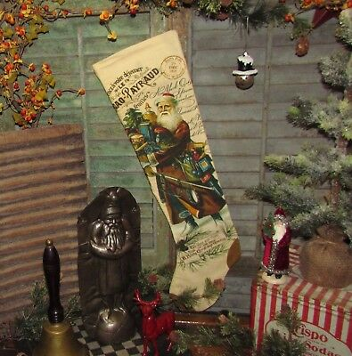 "Primitive Ragon House BELSNICKLE Santa Claus CHRISTMAS 25"" STOCKING"