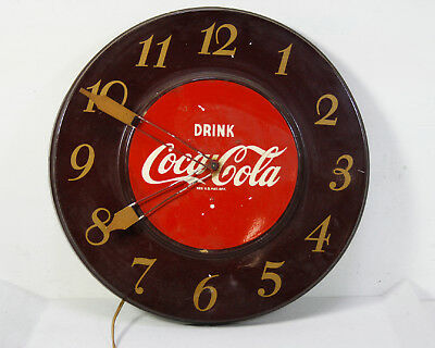 Vintage GE Drink Coca Cola Clock For Parts Or Repair