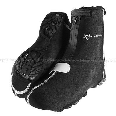 RockBros Cycling Warm Shoe Covers Rain-proof Overshoes Black One Size(36-46)