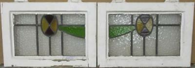 "PAIR OF OLD ENGLISH STAINED GLASS WINDOWS Cute Geometric 18.5"" x 13"" EACH"