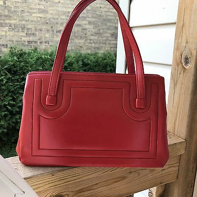 Vintage Leather Red Handbag 70's Top Handles Sturdy Clasp Purse Fall Holiday
