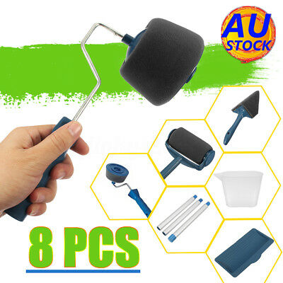 AU 8X Paint Roller Pro Edger Brush Handle Room Wall Painting Roller Brush