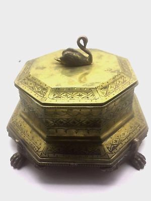 Antique Victorian Ormolu Swan Lion Feet Paw Brass Box 1800s Octatgon Vanity OLD