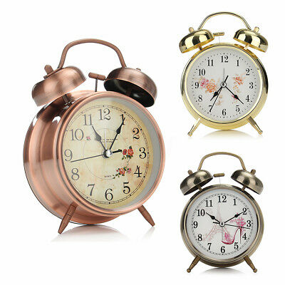 Metal Twin Bell Alarm Clock Vintage Retro Loud Clocks Desk Bedside Night Light