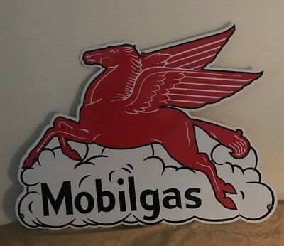 "PEGASUS MOBILEGAS  VINTAGE  LOOK CUT OUT SIGN 36x28 "" UV PROTECTED GAS OIL"