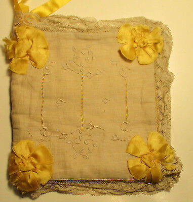 Antique Lingerie & Hankie Case - Silk, Satin & Lace - Gold & Ecru
