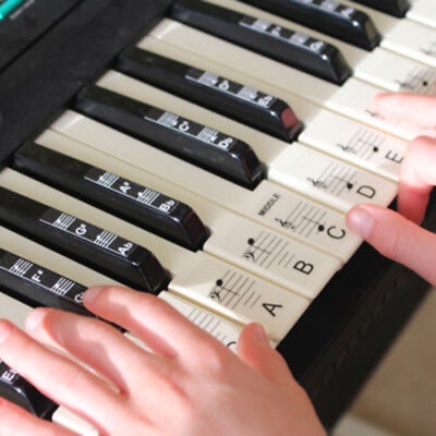 Keyboard/Piano Stickers SET up to 88 KEYS the best way to learn Piano Removable