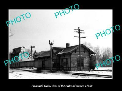 OLD LARGE HISTORIC PHOTO OF PLYMOUTH OHIO, THE RAILROAD DEPOT STATION c1960