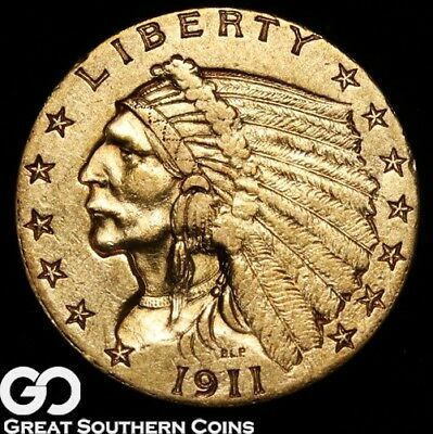 1911 Quarter Eagle, $2.5 Gold Indian ** Free Shipping!