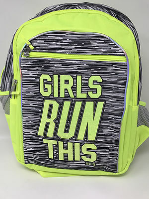 "Justice for Girls Neon Space Dye ""Girls Run This"" Backpack NWT!"