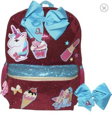 "Brand New Jojo Siwa Just Be You 16"" Backpack Glitter Unicorn W/blue Bow Lipstick"