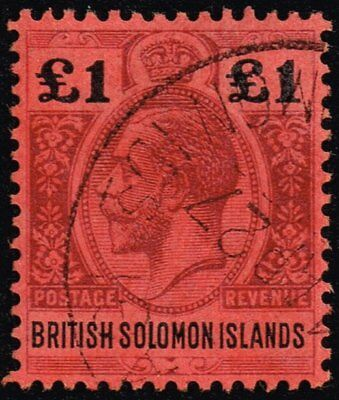 British Solomon Islands 1914 £1 purple & black / red, used (SG#38)