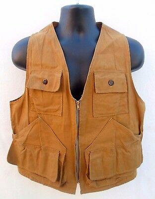 VINTAGE BROWN CANVAS BiRD HUNTING VEST W/ DETACHABLE GAME POUCH SIZE M-L? NICE!!