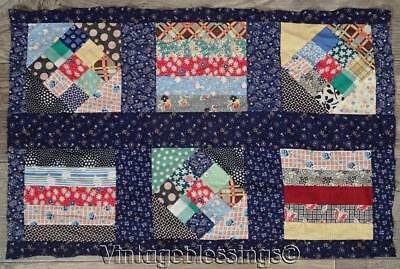 Vintage 30s QUILT Top Piece Blue + Vibrant Feedsacks 23x15""