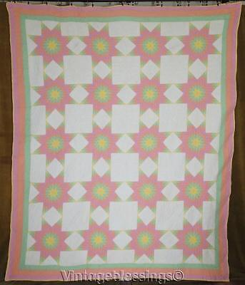 Glowing TINY TINY Pieces VINTAGE 30s Pastel Stars QUILT Heirloom Gift
