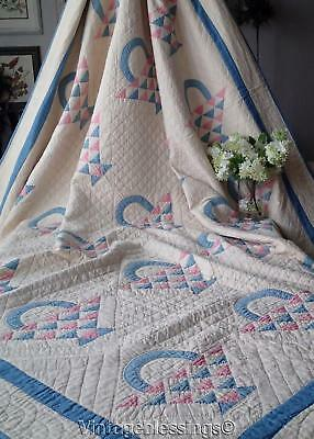 Fabulous Vintage 30s Never Used Pink Blue Baskets QUILT Excellent 90x83""