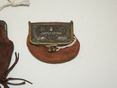 Victorian 2 Leather Coin Purse / Oriental Frame / Advertising Connellsville PA