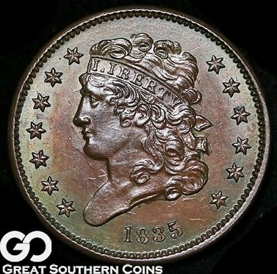 1835 Half Cent, Classic Head, Clashed Die, Outstanding Solid Gem BU++, Very PQ!