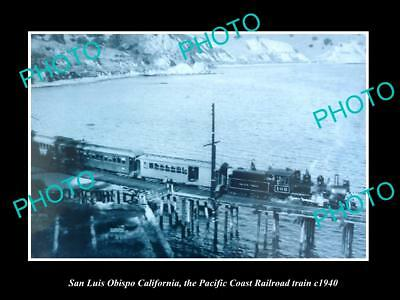 Old Large Historic Photo Of San Luis Obispo Ca Pacific Coast Railroad Train 1940