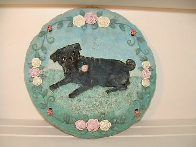 """Pug Stepping Stone """"PUG WITH ROSES AND  LADYBUG """" by Danbury Mint 12 inch"""