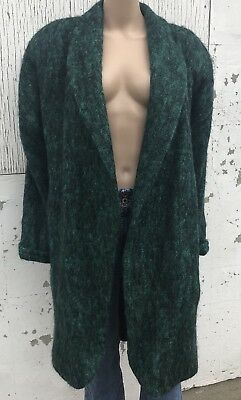 Vintage 80s Mohair Wool Long Oversized Sweater Coat Green Size 10