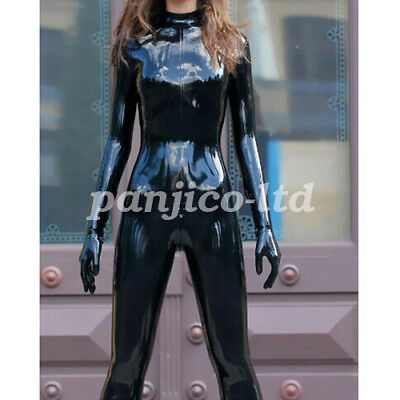 Latex Gummi Rubber Fashion Woman Black Catsuit Ganzanzug Full Body Size:XXS~XXL