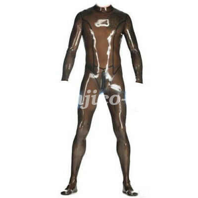 Latex Rubber Gummi Handsome Man Coffee Catsuit Bodysuit Full CoverSize:XXS-XXL