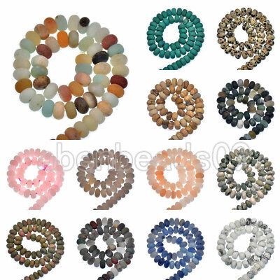 "Natural Matte GemStone Rondelle Spacer Loose Beads Strand 15.5"" 4x6mm & 5x8mm"