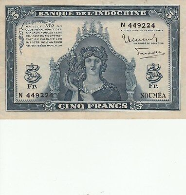 Noumea Indochina  5 Francs VF+