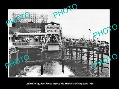 OLD LARGE HISTORIC PHOTO OF ATLANTIC CITY NJ, THE STEEL PIER DIVING BELL c1950