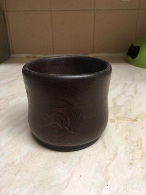 Wooden Cupped Pot Hand Made Carpenter Dark Brown FREE POSTAGE