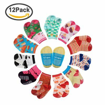 CIEHER 12 Pairs Non-Skid Ankle Cotton Socks with Grip for 12-36 Months Baby