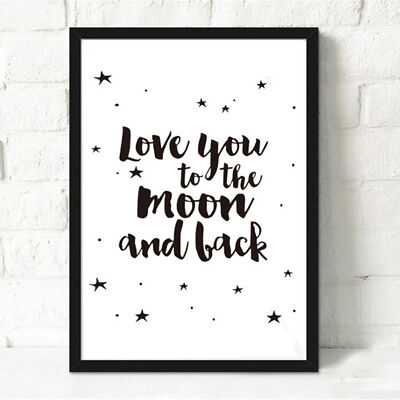 'Love You to The Moon and Back' Canvas Nursery Art Prints Kids Room Decor GiftFM