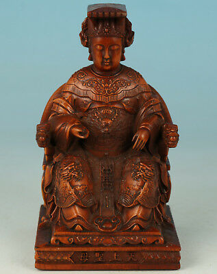 exquisite Boxwood Collection Handmade Carved Mazu kWAN-YIN Statue