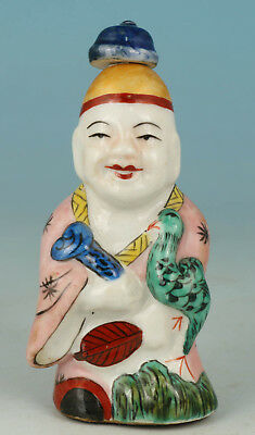 Chinese Old Porcelain Collection Handmade Painting Buddha Statue Snuff Bottle