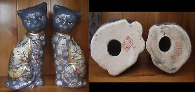 """Porcelain Pair Chinese Cats - Geisha Girl Design - Mark To Base Height 7½"""" (19Cm"""