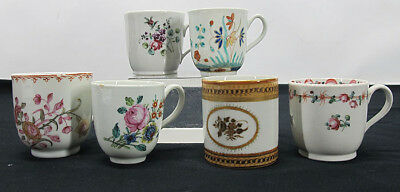 China Trade Export Porcelain Group of Tea Coffee Cups (6) 1700's Antique #1 yqz